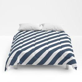Navy Blue Diagonal Stripes Comforters