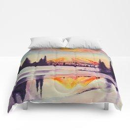 Winter Wonderland in Mount Rainer Comforters