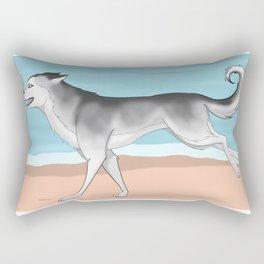 Husky run on the beach 02 Rectangular Pillow