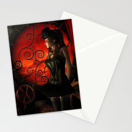 Steampunk, wonderful steampunk lady in the night Stationery Cards