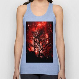 black trees red space Unisex Tank Top