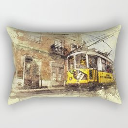 Trolly Train Car subway vintage rustic watercolor painting acrylic france europe italy amsterdam art Rectangular Pillow