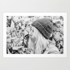 Me with cats Art Print