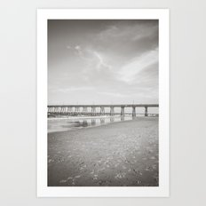Johnny Mercer's Fishing Pier Wrightsville Beach NC Sepia Black and White Art Print