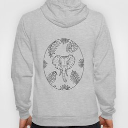 Elephant Botanical Tropical Plant Illustration Hoody