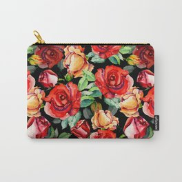 Hand painted black red watercolor roses floral Carry-All Pouch
