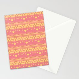 Cute yellow hearts on peach pink pattern Stationery Cards