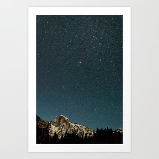 A Clear Winter's Night in Yosemite Art Print