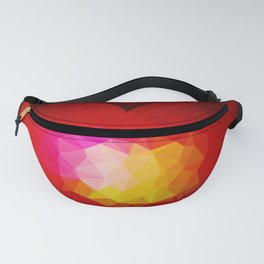 Red geometric burning heart Fanny Pack