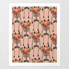 Skeleton and Flowers. Art Print