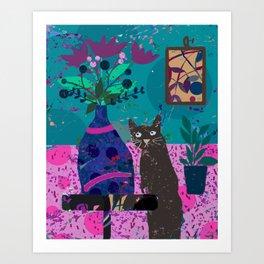 Brown Cat Pink Rug Still Life Art Print