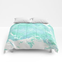 Marble texture background, white blue green marble pattern Comforters