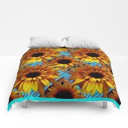 GOLDEN  ART DECO SUNFLOWERS TURQUOISE ART Comforters