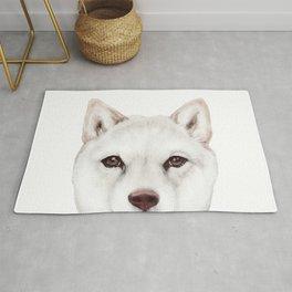 shiba inu white Dog original painting print Rug