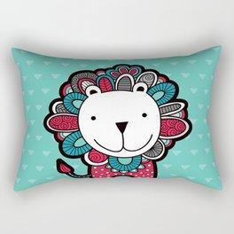 Doodle Lion on Aqua Triangle Background Rectangular Pillow