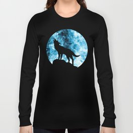 Howling Winter Wolf snowy blue smoke Long Sleeve T-shirt