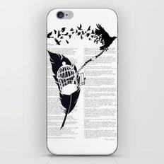 Vintage print with Edgar Alan Poe Poem and Raven Silhouette: Break Free iPhone & iPod Skin
