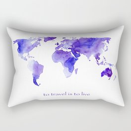 to travel is to live || watercolor map Rectangular Pillow