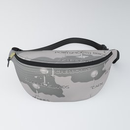 English Channel map (mono) Fanny Pack