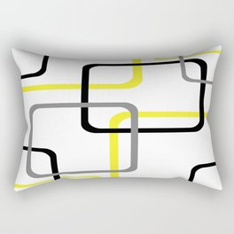 Geometric Rounded Rectangles Collage Yellow Rectangular Pillow