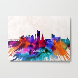 Aarhus Skyline Abstract Metal Print