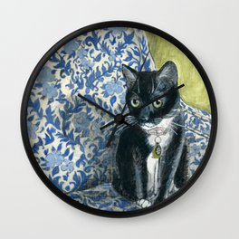 Sweet Tuxedo Cat on Blue Floral Chair Wall Clock