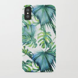 Blue Jungle Leaves, Monstera, Palm #society6 iPhone Case