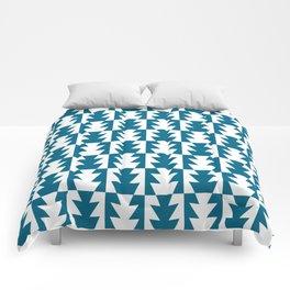 Art Deco Jagged Edge Pattern Peacock Blue Comforters