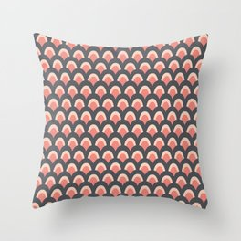 Pretty Art Deco Peacock Feathers in Pink and Gray Throw Pillow