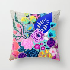 Linen Bouquet Throw Pillow