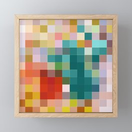 Flower pot - abstract mosaic background with colorful squares Framed Mini Art Print