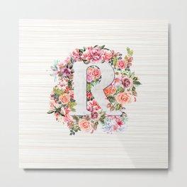 Initial Letter R Watercolor Flower Metal Print