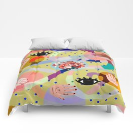 abstract evil eye , female hands, dots, love, flowers Comforters