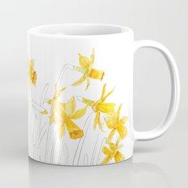 yellow daffodils field watercolor and pencil Coffee Mug