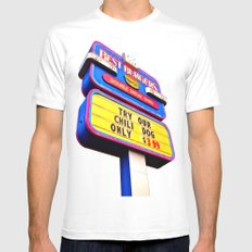 Best Burgers Sign MEDIUM White Mens Fitted Tee