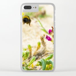 the flight of bumble bee on the bunes Clear iPhone Case