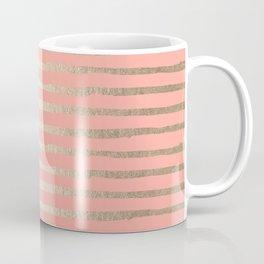 Abstract Stripes Gold Coral Pink Coffee Mug