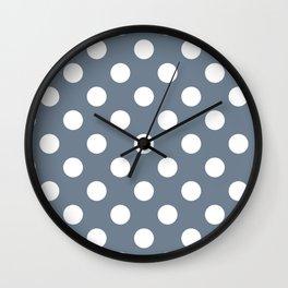 Slate gray - grey - White Polka Dots - Pois Pattern Wall Clock