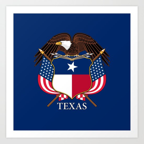 Texas flag and eagle crest - original concept and design by BruceStanfieldArtist Art Print