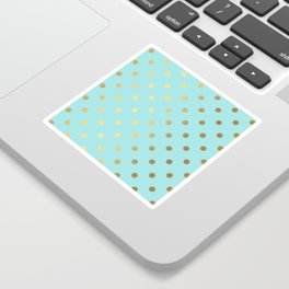 Gold polka dots on aqua background - Luxury turquoise pattern Sticker
