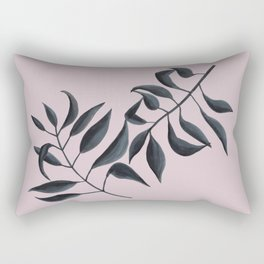 Grey Leaves on Pink Rectangular Pillow