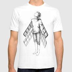 boy draws wings mk-II MEDIUM White Mens Fitted Tee