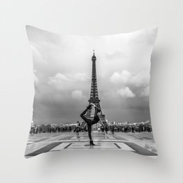 Paris Yoga Pose in front of the Eiffel Tower Throw Pillow