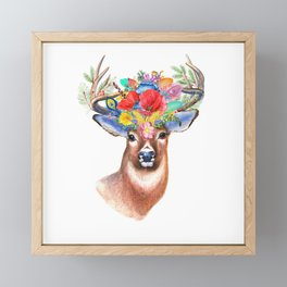 Watercolor Fairytale Stag With Crown Of Flowers Framed Mini Art Print