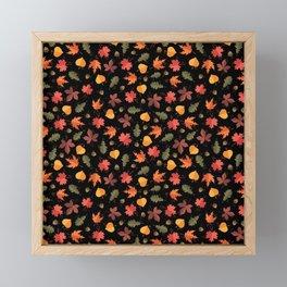 Autumn Leaves Pattern Black Background Framed Mini Art Print
