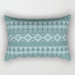 Mudcloth Style 2 in Teals Rectangular Pillow