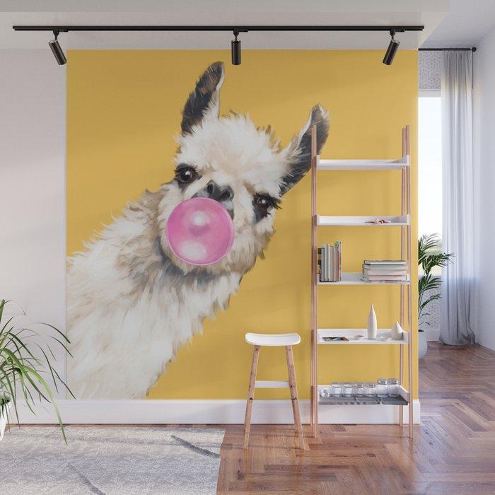 Bubble Gum Sneaky Llama in Yellow Wall Mural