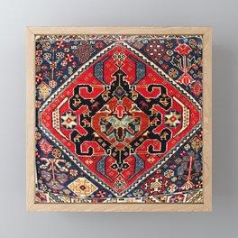 Qashqa'i Antique Fars Persian Bag Face Print Framed Mini Art Print