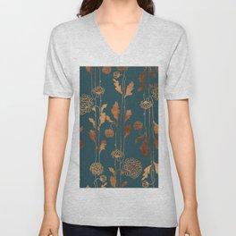 Art Deco Copper Flowers Unisex V-Neck
