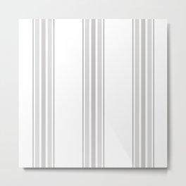 Farmhouse Ticking Stripes in Gray on White Metal Print
